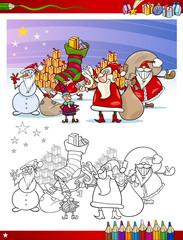 santa claus group coloring page