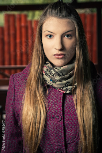 Fashion Model Woman Portrait in Autumn or Winter Coat