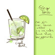 Illustration with Gin and Tonic cocktail - 57182857