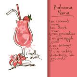 Fototapety Illustration with Bahama Mama cocktail