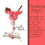 Illustration with Strawberry Daiquiri cocktail