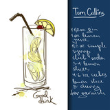 Illustration with Tom Collins cocktail