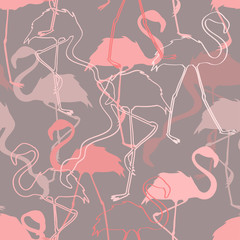 Seamless pattern of flamingos