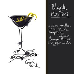 Illustration with Black Martini cocktail