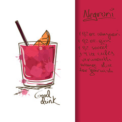Illustration with Negroni cocktail