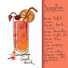 Illustration with Scorpion cocktail