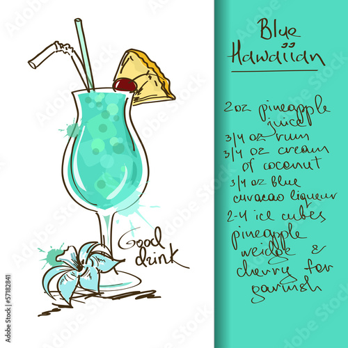 Illustration with Blue Hawaiian cocktail
