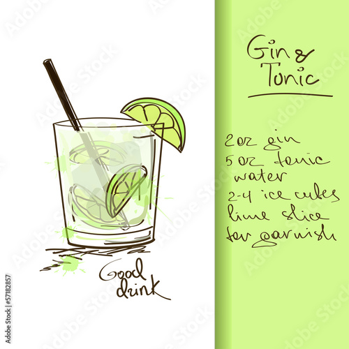 Illustration with Gin and Tonic cocktail