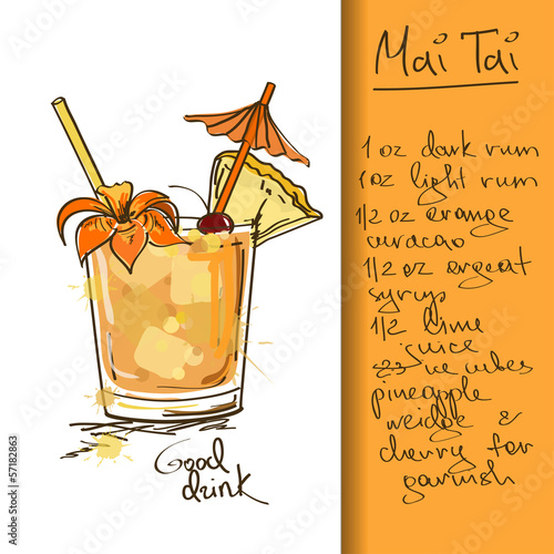 Illustration with Mai Tai cocktail
