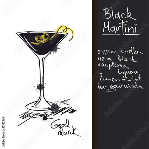 Illustration with Black Martini cocktail © Annykos