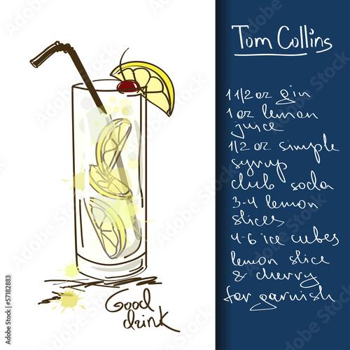 Ilustracja z koktajlem Tom Collins