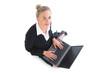 Portrait of beautiful blonde businesswoman using her notebook