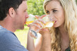 Young couple drinking wine together