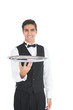 Young waiter presenting an empty tray