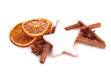 isolated gingerbread with cinnamon and orange dried