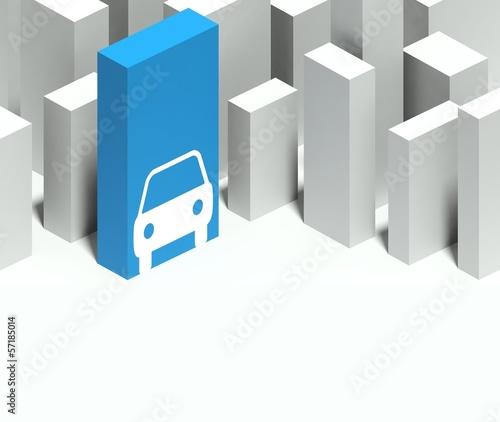 3d car symbol in conceptual model of city