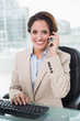 Cheerful businesswoman phoning and looking at camera