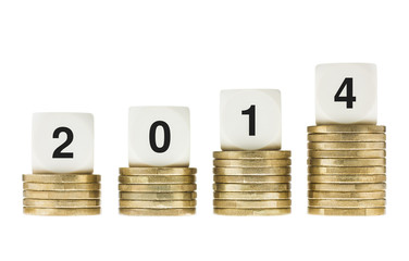 Year 2014 on Stacks of Gold Coins with White Background