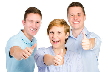 erfolgreiche gruppe zeigt daumen