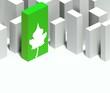 3d eco leaf symbol in conceptual model of city