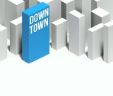 3d downtown conceptual model of city with distinctive skyscraper poster