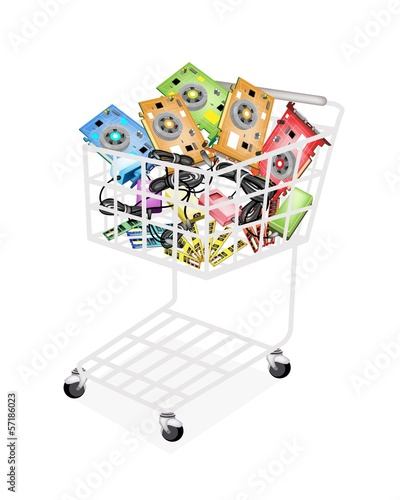 Keuken foto achterwand Boodschappen Three Kind of Computer Hardware in Shopping Cart
