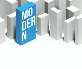 3d modern conceptual model of city with distinctive skyscraper poster