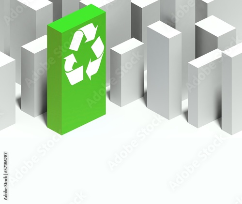 3d recycle symbol in conceptual model of city
