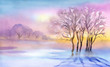 Landscape Watercolor landscape. Winter Collection