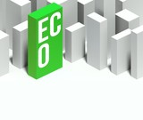 3d eco conceptual of city with distinctive skyscraper poster