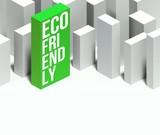 3d eco friendly conceptual of city with distinctive skyscraper poster