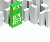 3d eco green conceptual of city with distinctive skyscraper poster