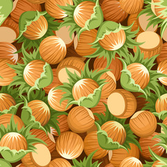 Seamless background with hazelnuts. Vector illustration.