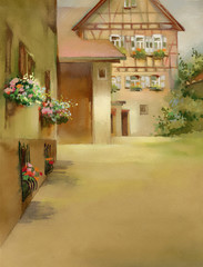 Watercolor Landscape Collection: Village Life
