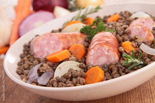 lentils with meat and vegetables