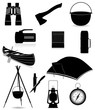 set icons items for outdoor recreation black silhouette vector i