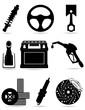 set icons of car parts black silhouette vector illustration