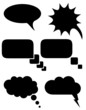 set icons speech bubbles dreams black silhouette vector illustra