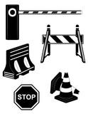 set icons road barrier black silhouette vector illustration