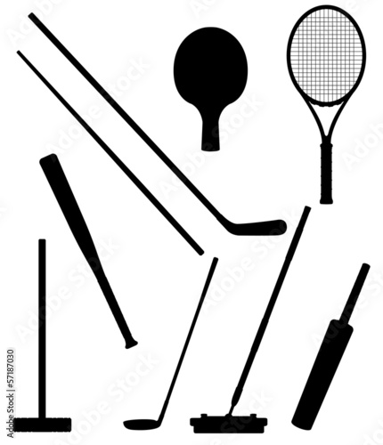 bits and stick to sports black silhouette vector illustration