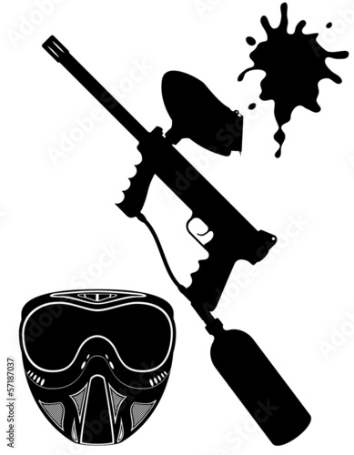 paintball set black silhouette vector illustration