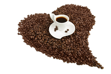 coffe cup on heart shape