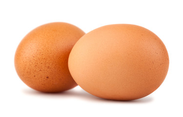 Two brown chicken eggs