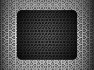 grunge metallic mesh background with black panel