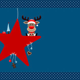 Rudolph Sitting On Red Star & Symbols Blue Dots