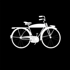 white bicycle silhouette over black