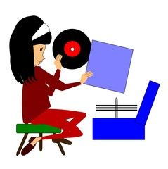 young girl playing records on her record player