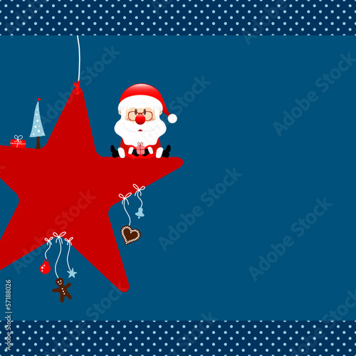 Santa Glasses On Red Star & Symbols Blue Dots