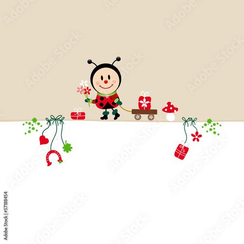 Birthday Card Ladybug Bouquet & Symbols Beige
