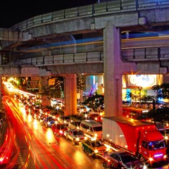 Night light city on the street